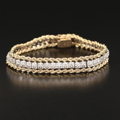 14K 1.00 CTW Diamond Double Rope Bracelet