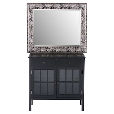 Contemporary Ebonized Wood Hall Cabinet with Mirror