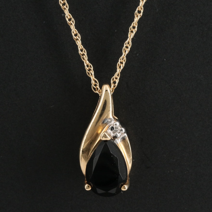 14K Black Onyx Pendant Necklace with Diamond Accent
