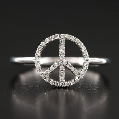 14K Diamond Peace Sign Ring