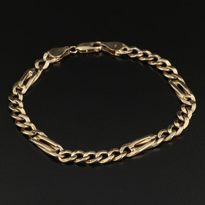 14K and 10K Figaro Link Chain Bracelet