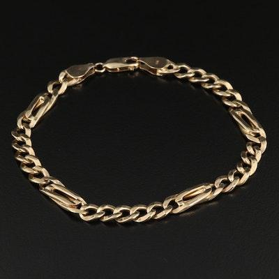 14K and 10K Figaro Link Chain Bracelet