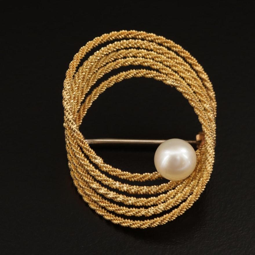 Vintage UnoAErre 14K Pearl Twisted Rope Brooch