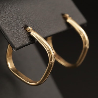 14K Squared Edge Hoop Earrings