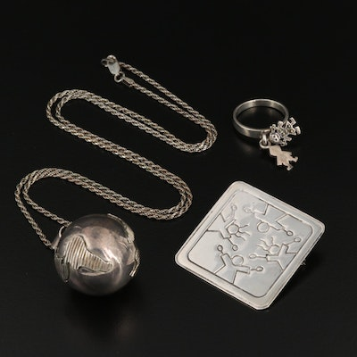 Sterling Silver Globe Chime Pendant Necklace with Children Motif Ring and Brooch