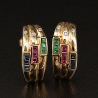 14K Diamond and Gemstone Half Hoop Earrings