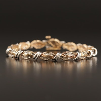 10K Two-Tone Diamond Link Bracelet