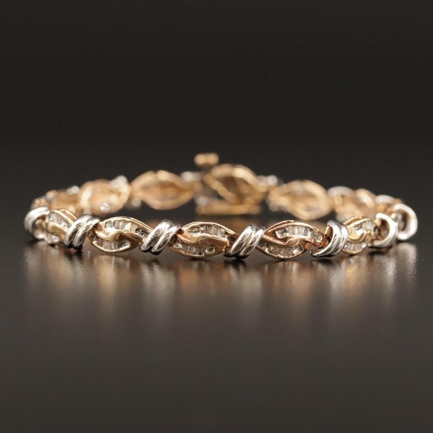10K Two-Tone Diamond Link Bracelet