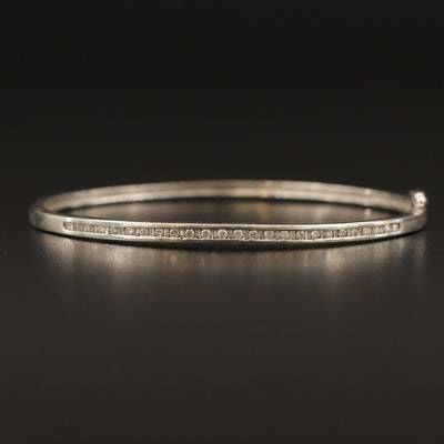 10K Diamond Hinged Bangle Bracelet