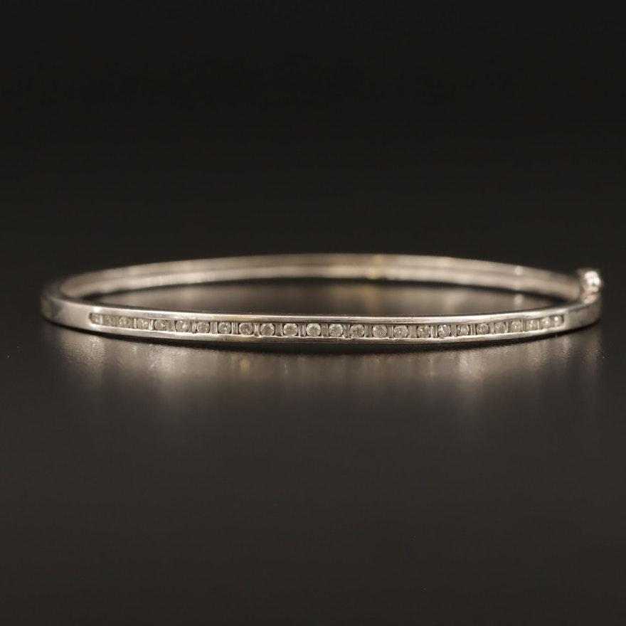 10K Diamond Hinged Bangle Bracelet