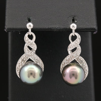 10K Twisted Cultured Pearl and Diamond Drop Earrings
