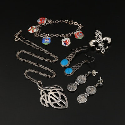 Sterling Silver Jewelry with 800 Silver German Travel Charm Bracelet