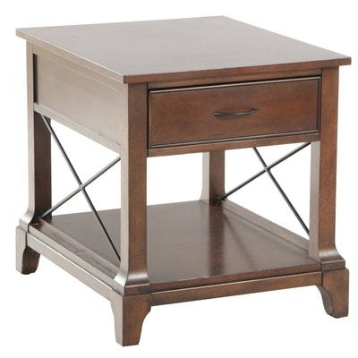 Contemporary Walnut Finish Single Drawer Side Table