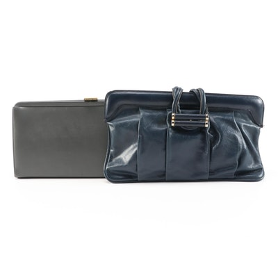 Saks Fifth Avenue and Joseph Shoes Convertible Leather Clutches, Vintage