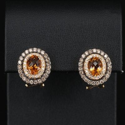 Le Vian 14K Citrine and Diamond Earrings