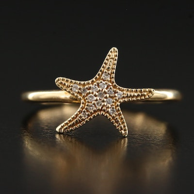 14K Diamond Starfish Motif Ring