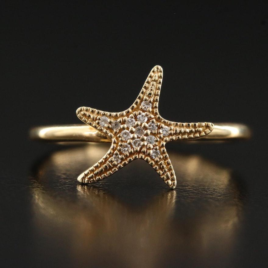 14K Diamond Starfish Motif Ring