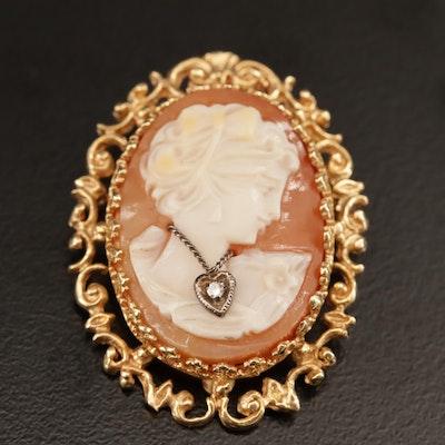 Vintage 14K Shell Habillé Diamond Converter Brooch