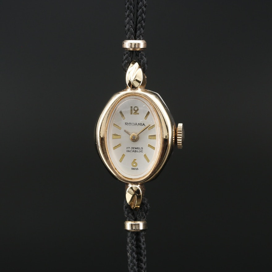 Vintage Rodania Gold Tone Stem Wind Wristwatch
