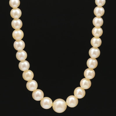 Vintage Graduated Akoya Pearl Necklace with 18K Clasp and GIA Report