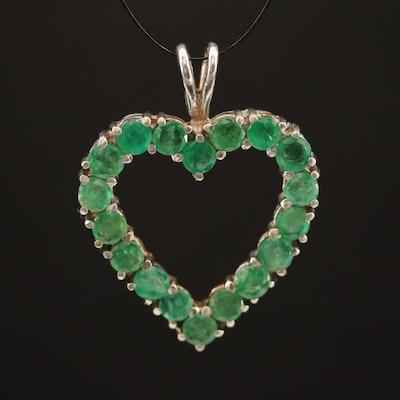 10K Emerald Open Heart Pendant