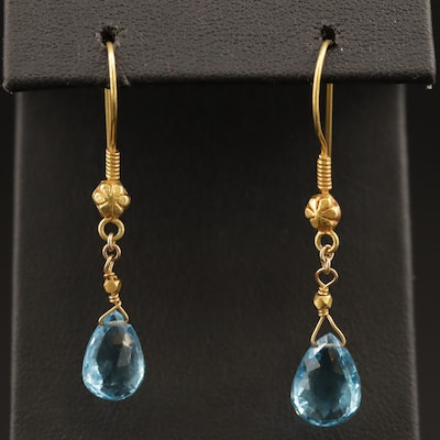 18K Topaz Dangle Earrings with Floral Detailing