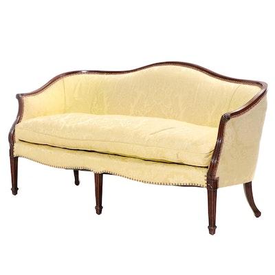 Federal Style Damask-Upholstered Mahogany Sofa, 20th Century