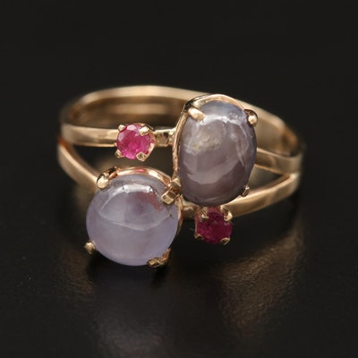 14K Star Sapphire and Ruby Ring