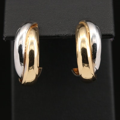 14K Two-Tone Crossover Hoop Earrings