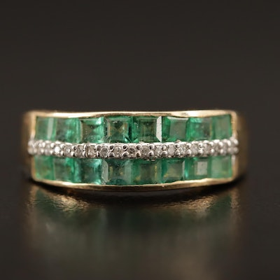14K Emerald and Diamond Three Row Band