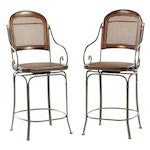 Stained Wood and Metal Cane Upholstery Counter Height Swivel Barstools