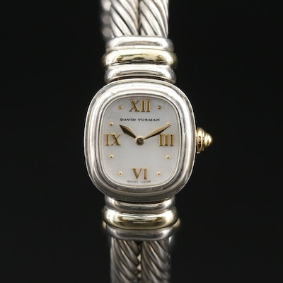 David Yurman Double Cable Sterling Silver and 18K Wristwatch