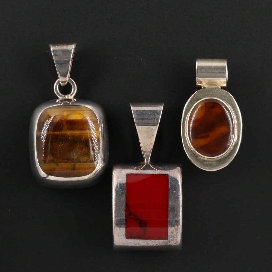 Sterling Silver Pendants with Tiger's Eye and Red Jasper