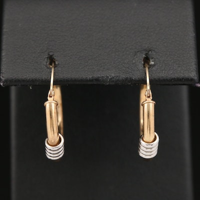 14K Yellow Gold Hoop Earrings with White Gold Twist Accent