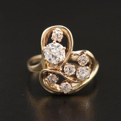 14K Diamond Ring with Freeform Design