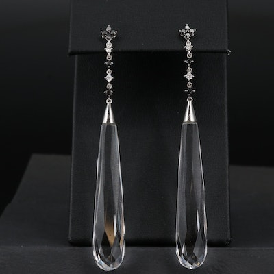 14K Rock Crystal Quartz and Diamond Dangle Earrings