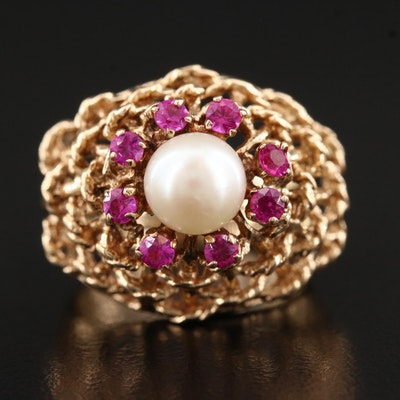 14K Ruby and Pearl Dome Ring with Basket Motif