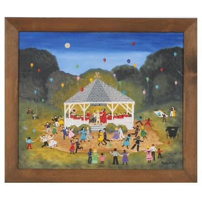 Phyllis Horton Folk Art Acrylic Painting, 1993