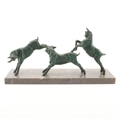 M. Leducq Art Deco Patinated Spelter Goat Sculpture