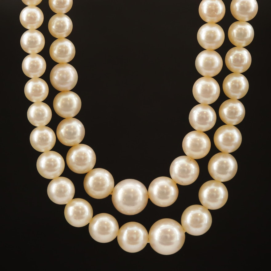 Graduated Akoya Pearl Double Strand Necklace with 14K Clasp and GIA Report