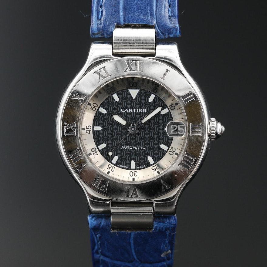"Cartier 21 ""Autoscaph"" Stainless Steel Wristwatch"