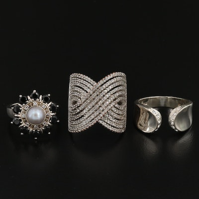 Sterling Silver Cubic Zirconia, Pearl and White Topaz Rings