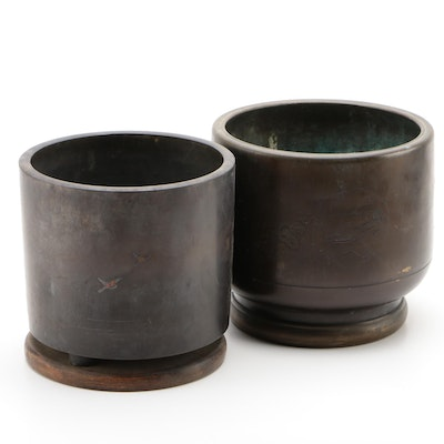 Pair of Bronze Planters with Engraved Asian Inspired Scenes