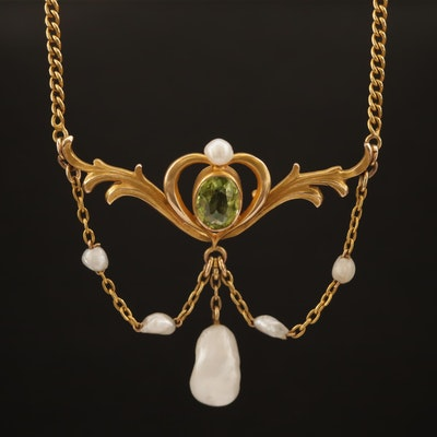 Art Nouveau 14K Peridot and Pearl Festoon Necklace