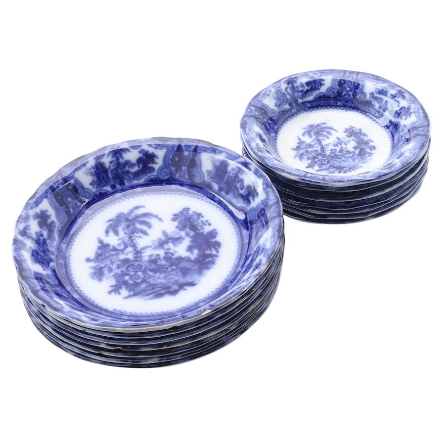 """W. Adams & Co """"Kyber"""" Flow Blue Porcelain Soup and Dessert Bowls"""