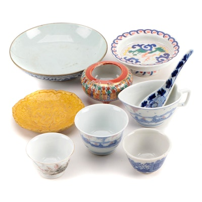 Kangxi Style Porcelain Brush Washer and Other Table Accessories