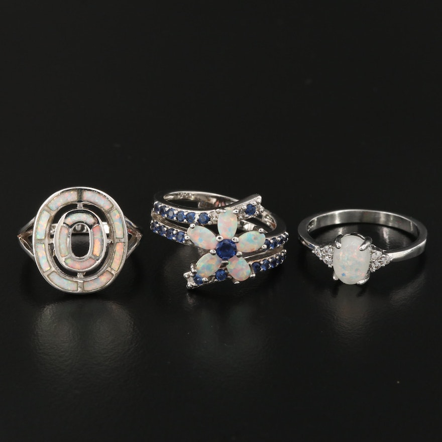 Sterling Silver Opal and Cubic Zirconia Rings Including Flower Bypass Ring