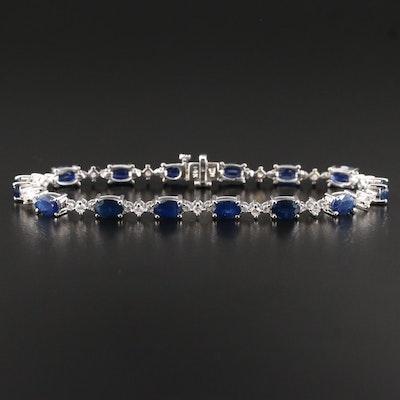 14K Blue Sapphire and Diamond Bracelet