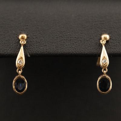 14K Sapphire and Diamond Dangle Earrings