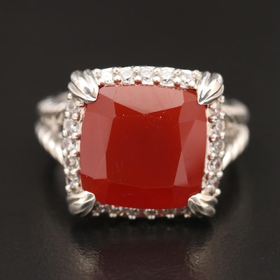 Judith Ripka Sterling Silver Carnelian Ring with Cubic Zirconia Halo